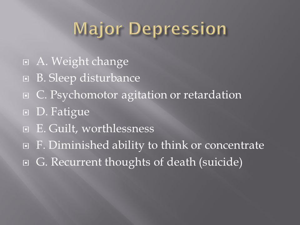  A. Weight change  B. Sleep disturbance  C. Psychomotor agitation or retardation  D.