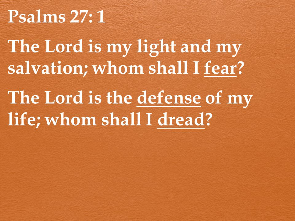 Psalms 27: 1 The Lord is my light and my salvation; whom shall I fear.