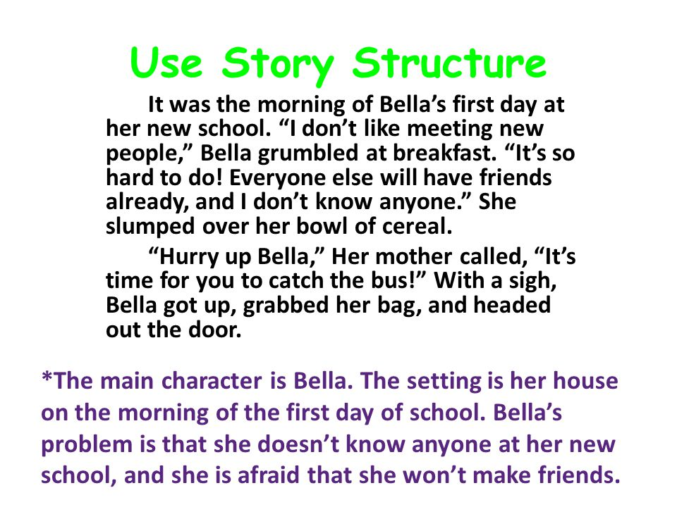 "Use Story Structure It was the morning of Bella's first day at her new school. ""I don't like meeting new people,"" Bella grumbled at breakfast. ""It's s"