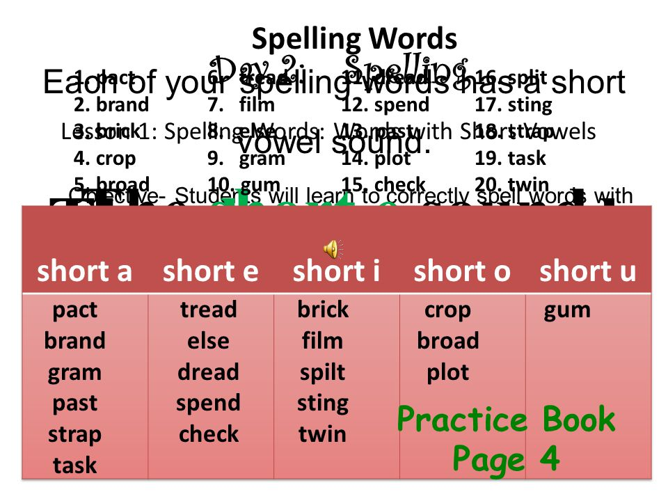 Day 2:Spelling Objective- Students will learn to correctly spell words with short vowels Lesson 1: Spelling Words: Words with Short Vowels Each of your spelling words has a short vowel sound.