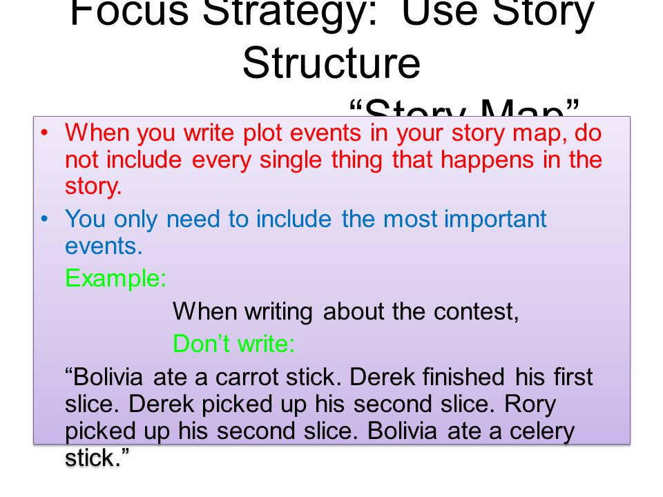 Focus Strategy: Use Story Structure Story Map When you write plot events in your story map, do not include every single thing that happens in the story.