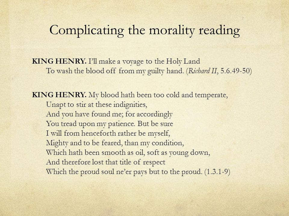 Complicating the morality reading KING HENRY.