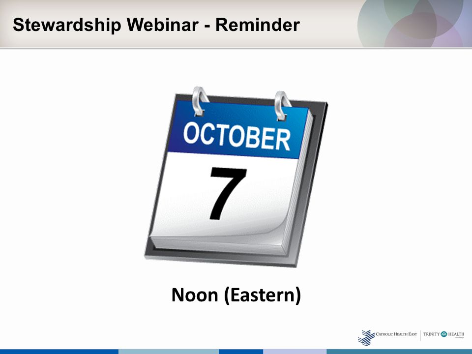 Stewardship Webinar - Reminder Noon (Eastern)