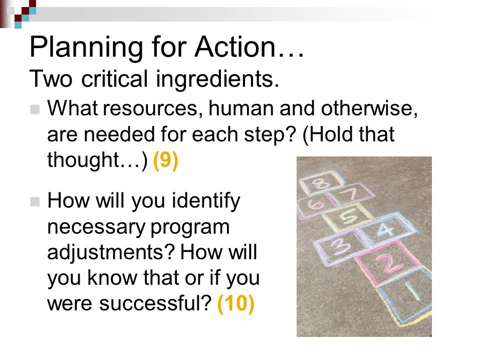 How will you identify necessary program adjustments? How will you know that or if you were successful? (10) Planning for Action… Two critical ingredie