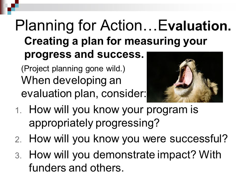 Planning for Action…E valuation. Creating a plan for measuring your progress and success. 1. How will you know your program is appropriately progressi