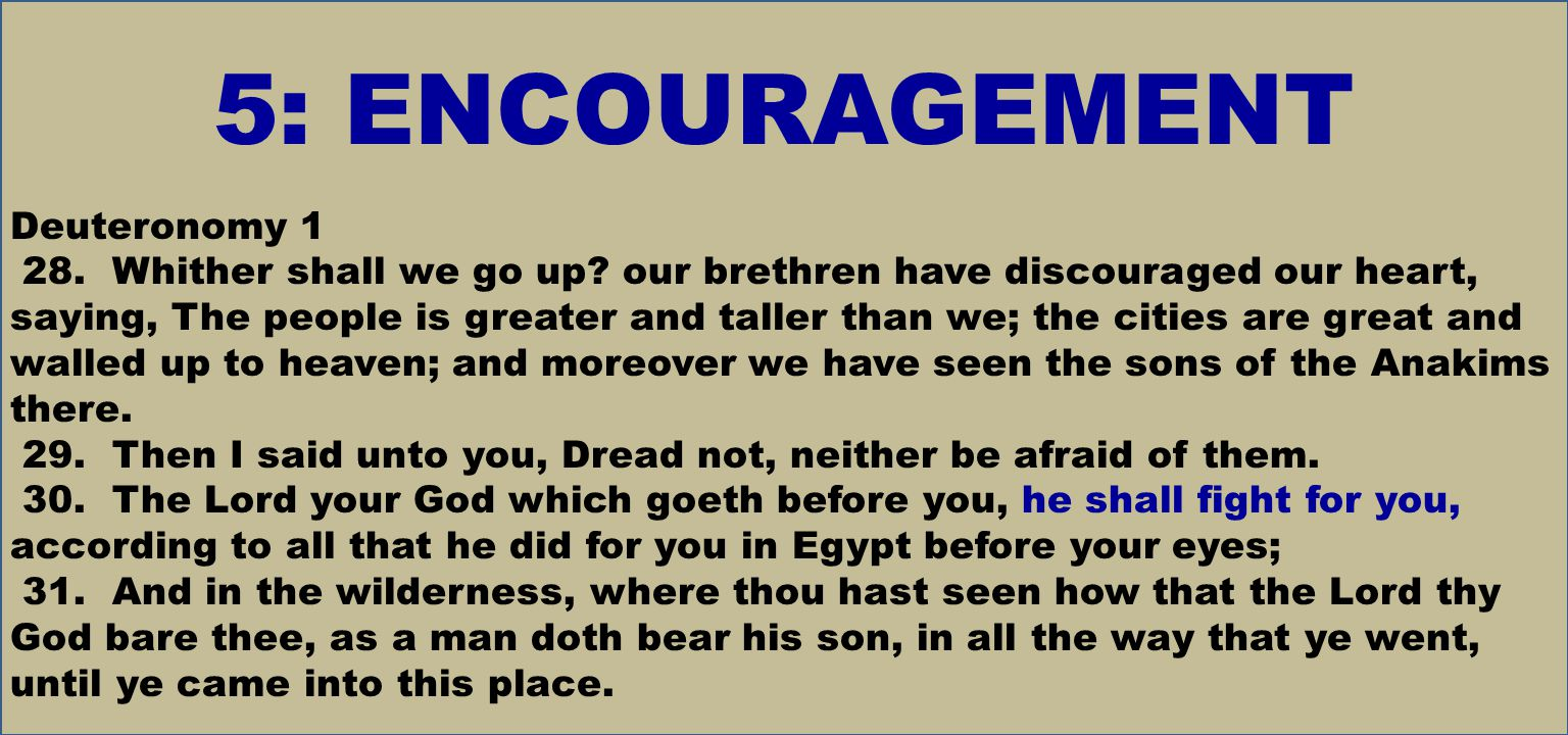 5: ENCOURAGEMENT Deuteronomy 1 28. Whither shall we go up.