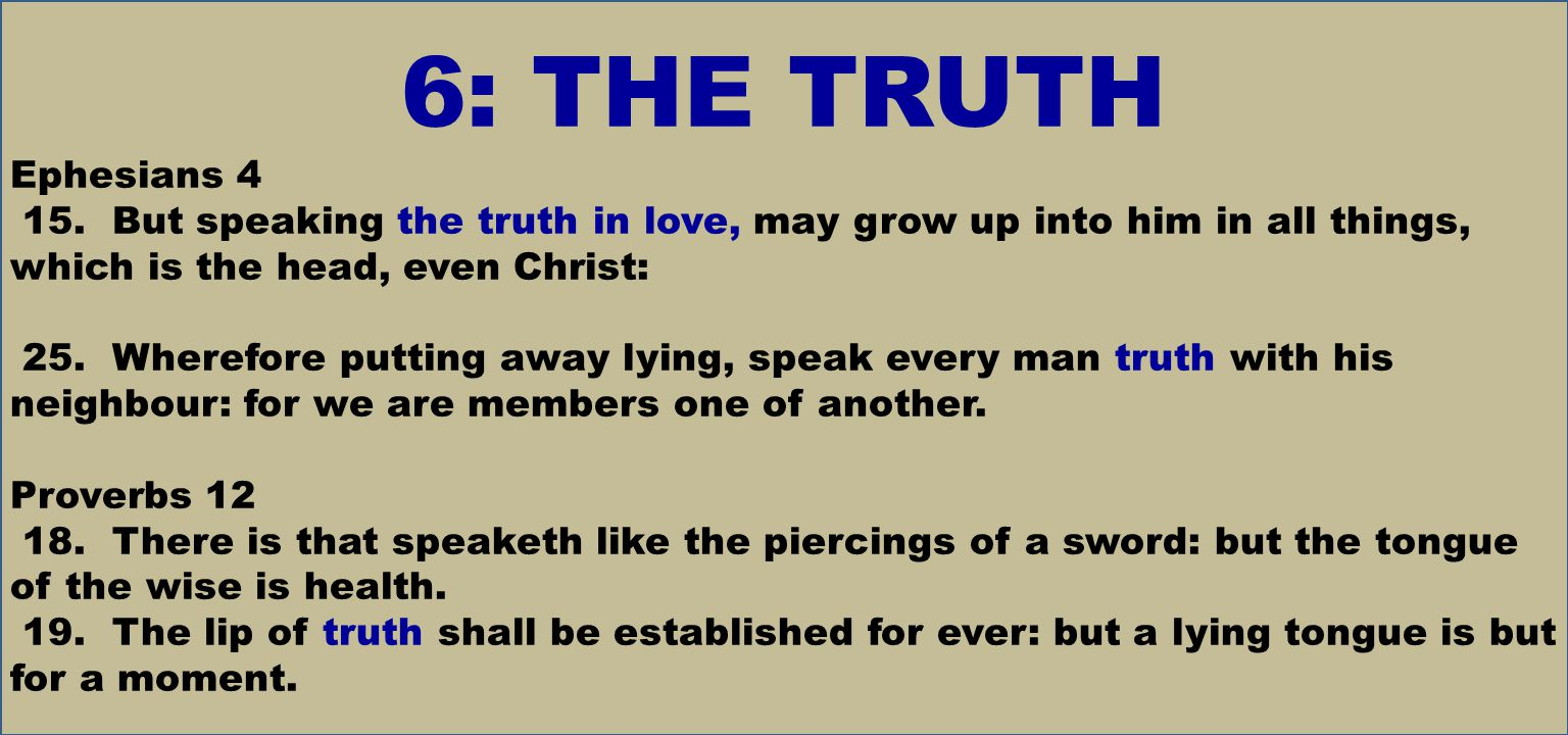 6: THE TRUTH Ephesians 4 15.
