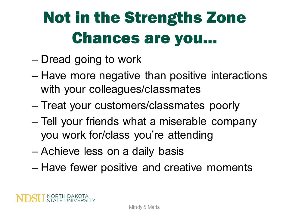 Not in the Strengths Zone Chances are you… –Dread going to work –Have more negative than positive interactions with your colleagues/classmates –Treat