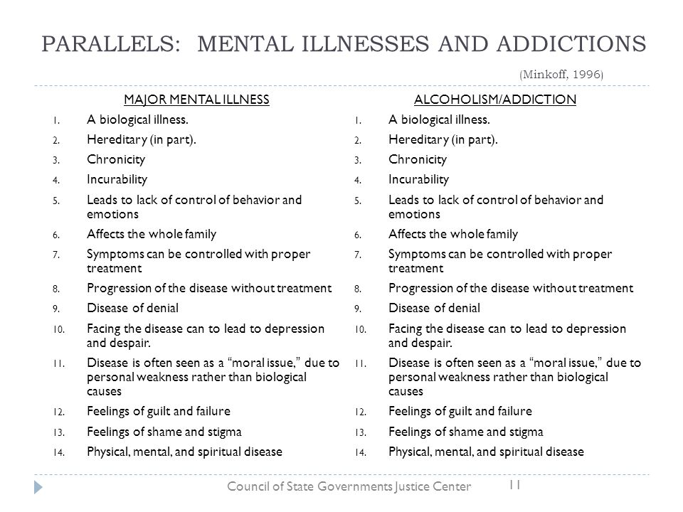 PARALLELS: MENTAL ILLNESSES AND ADDICTIONS (Minkoff, 1996) MAJOR MENTAL ILLNESS 1. A biological illness. 2. Hereditary (in part). 3. Chronicity 4. Inc