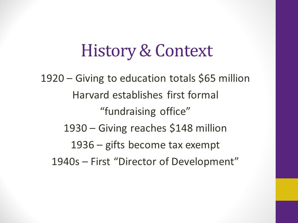 History & Context 1920 – Giving to education totals $65 million Harvard establishes first formal fundraising office 1930 – Giving reaches $148 million 1936 – gifts become tax exempt 1940s – First Director of Development