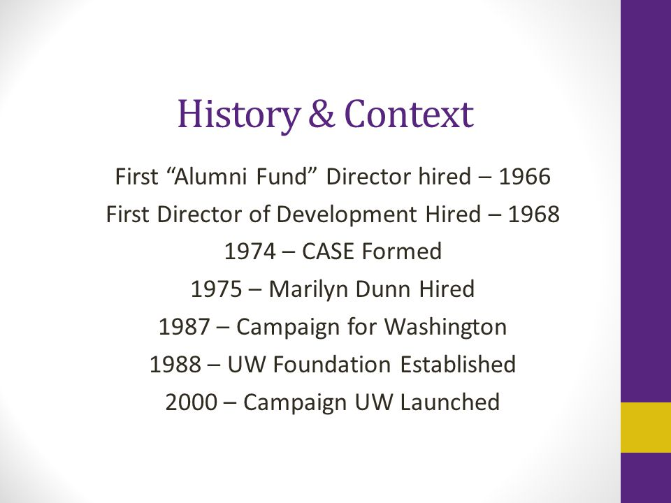 History & Context First Alumni Fund Director hired – 1966 First Director of Development Hired – 1968 1974 – CASE Formed 1975 – Marilyn Dunn Hired 1987 – Campaign for Washington 1988 – UW Foundation Established 2000 – Campaign UW Launched