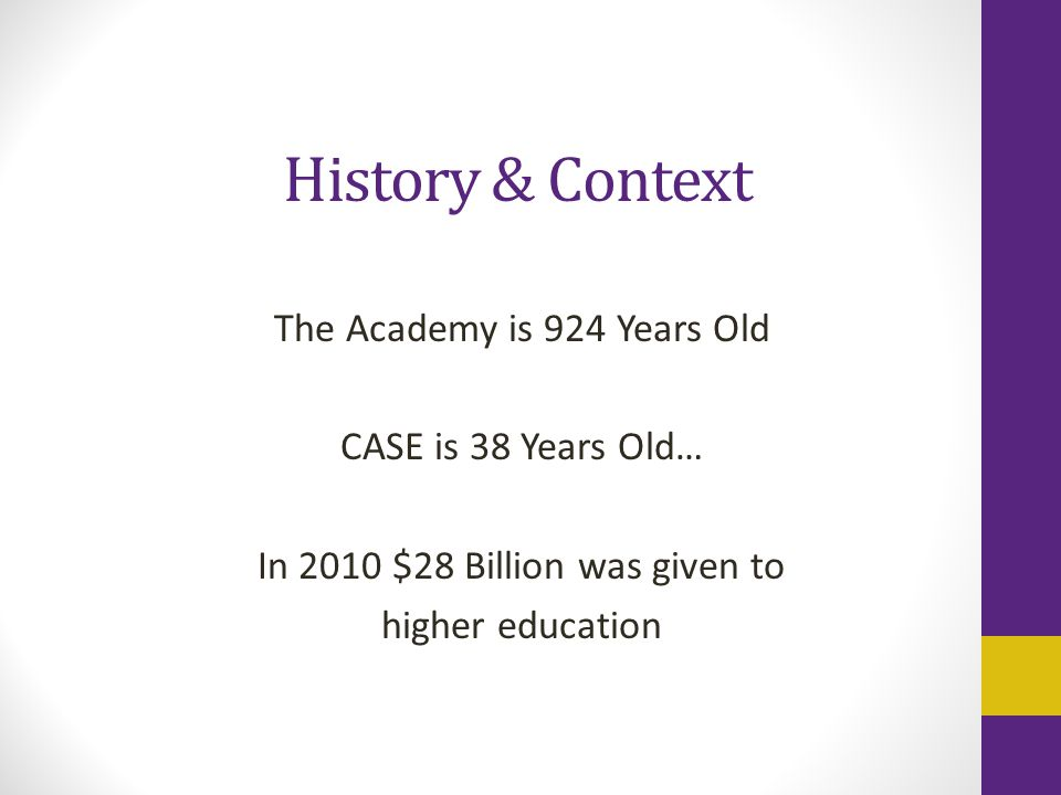 History & Context The Academy is 924 Years Old CASE is 38 Years Old… In 2010 $28 Billion was given to higher education