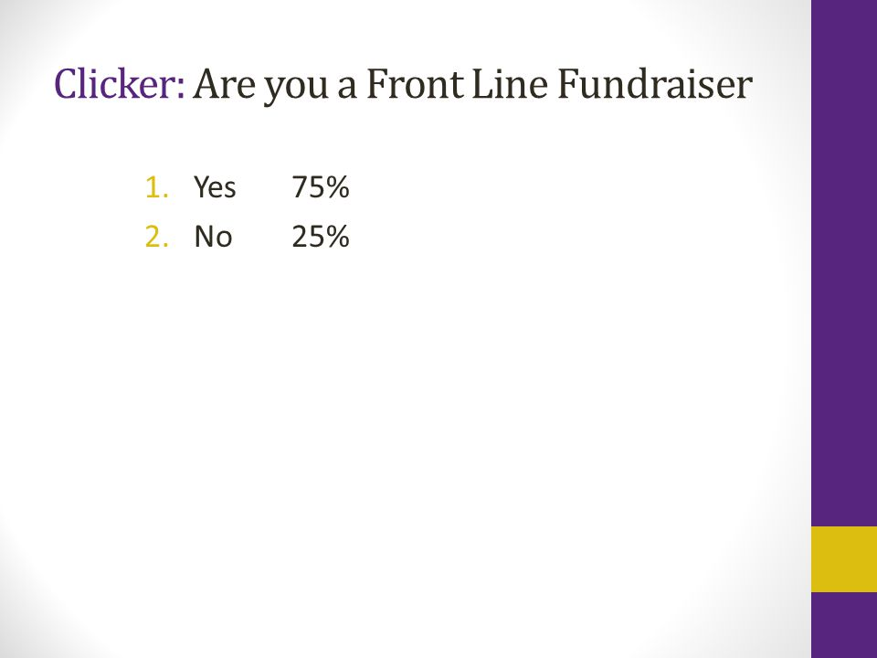 Clicker: Are you a Front Line Fundraiser 1.Yes 2.No 75% 25%