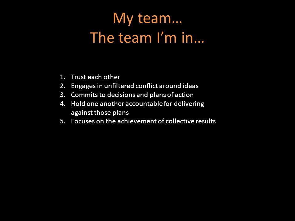 My team… The team I'm in… 1.Trust each other 2.Engages in unfiltered conflict around ideas 3.Commits to decisions and plans of action 4.Hold one another accountable for delivering against those plans 5.Focuses on the achievement of collective results