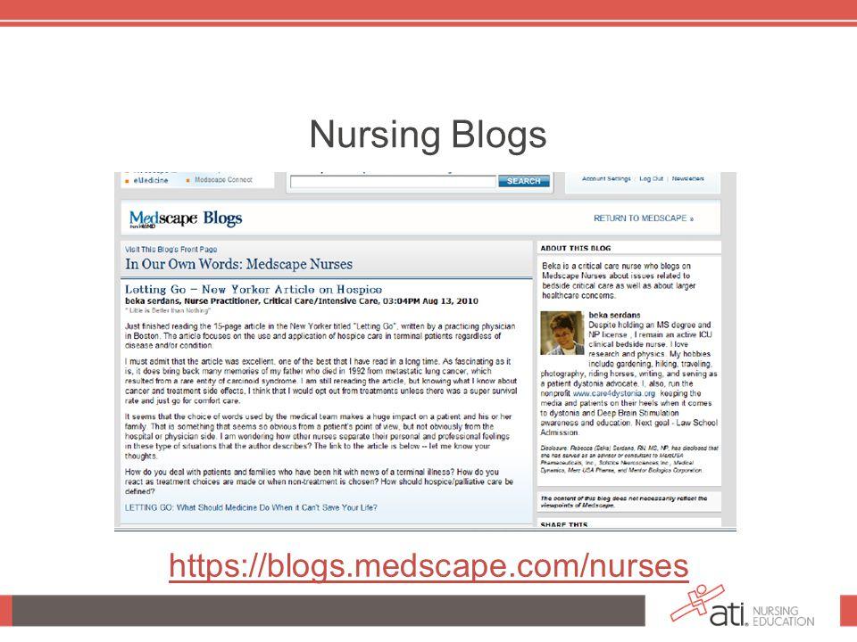 Nursing Blogs https://blogs.medscape.com/nurses