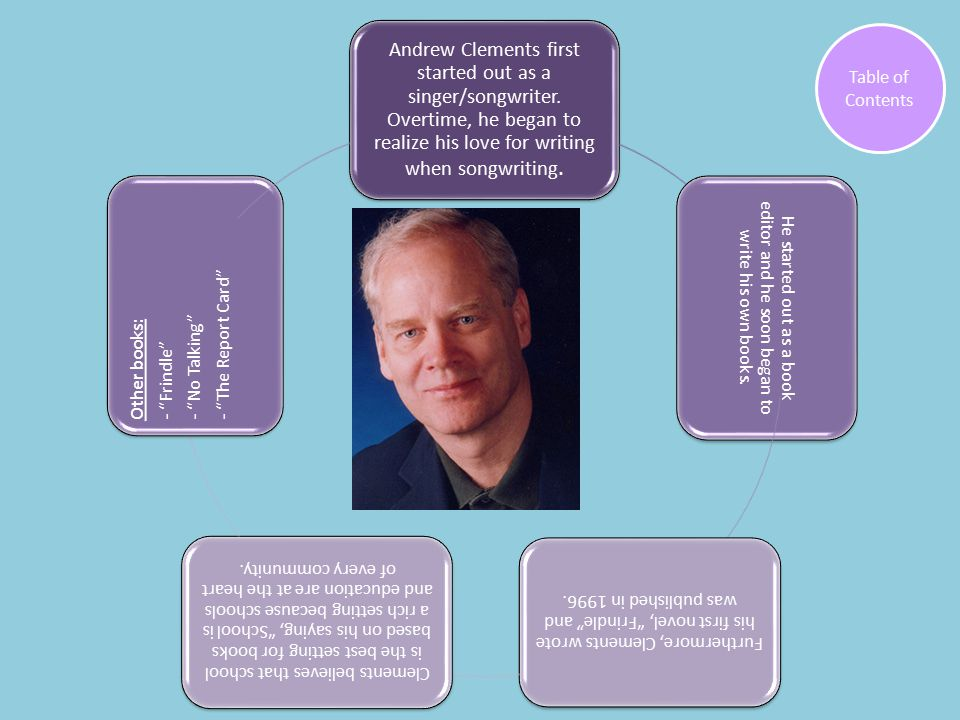 Andrew Clements first started out as a singer/songwriter.