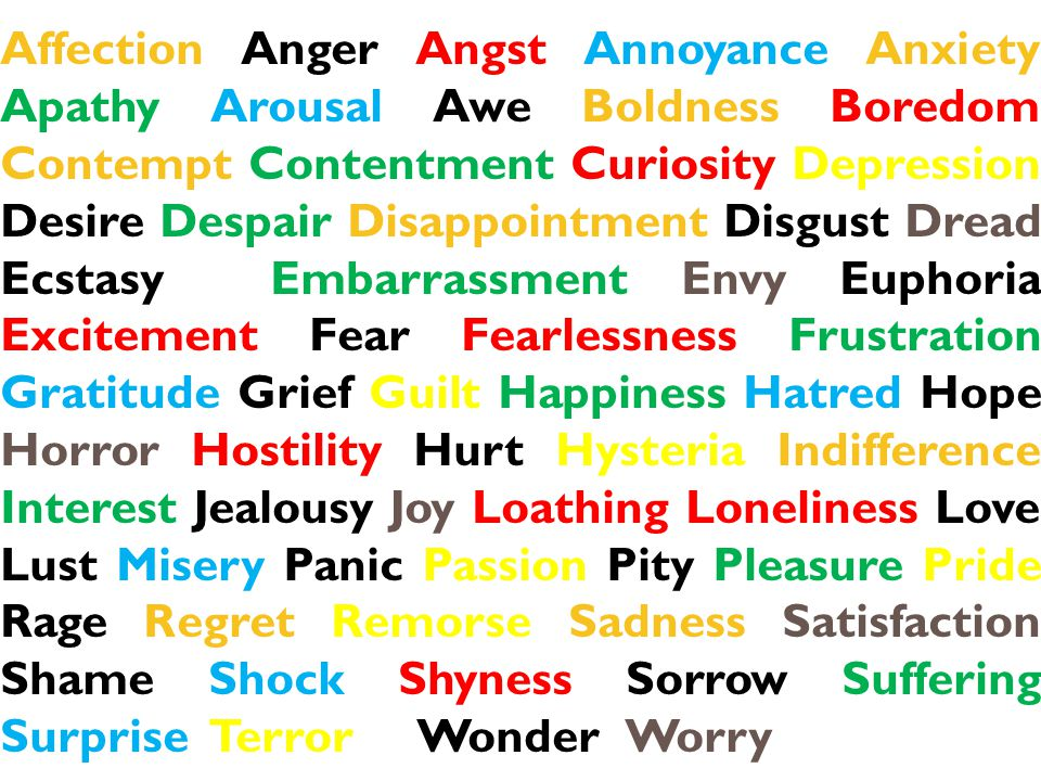 Affection Anger Angst Annoyance Anxiety Apathy Arousal Awe Boldness Boredom Contempt Contentment Curiosity Depression Desire Despair Disappointment Di