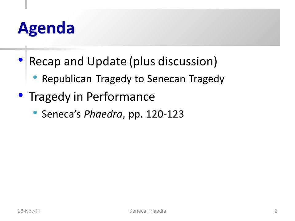 Agenda Recap and Update (plus discussion) Republican Tragedy to Senecan Tragedy Tragedy in Performance Seneca's Phaedra, pp.