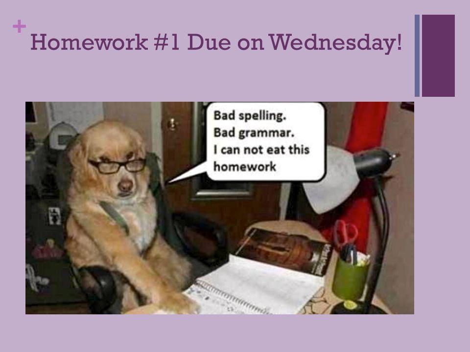 + Homework #1 Due on Wednesday!