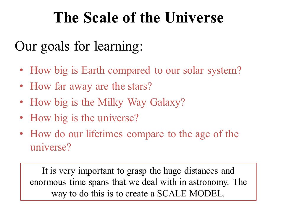 The Scale of the Universe How big is Earth compared to our solar system? How far away are the stars? How big is the Milky Way Galaxy? How big is the u