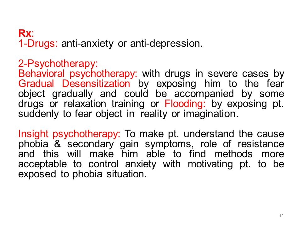 Rx: 1-Drugs: anti-anxiety or anti-depression.