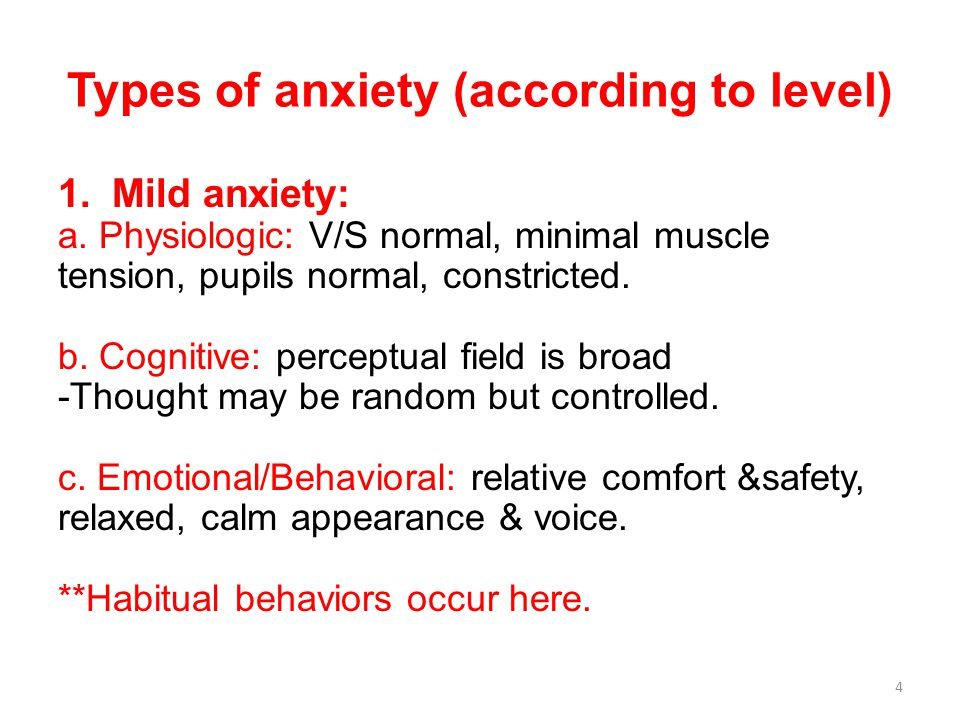 Types of anxiety (according to level) 1.Mild anxiety: a.