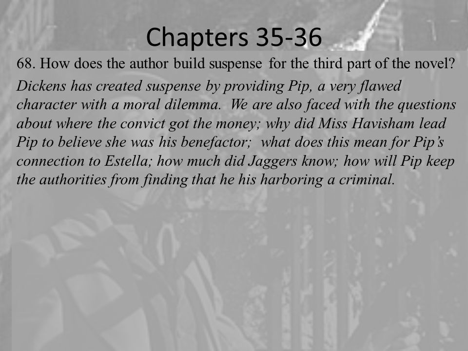 Chapters 35-36 68.How does the author build suspense for the third part of the novel.