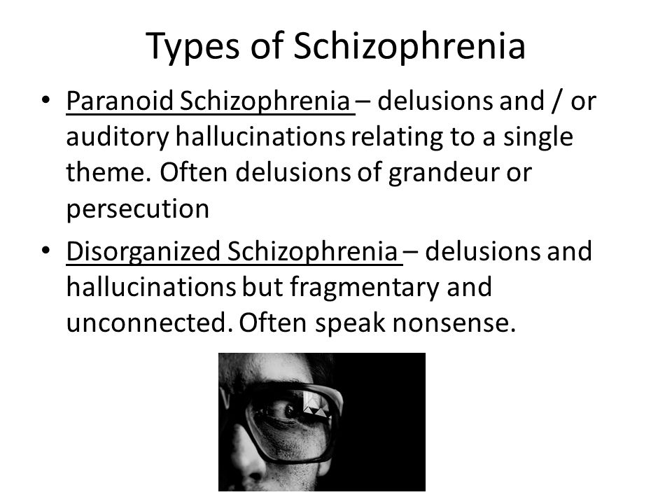 Types of Schizophrenia Paranoid Schizophrenia – delusions and / or auditory hallucinations relating to a single theme.