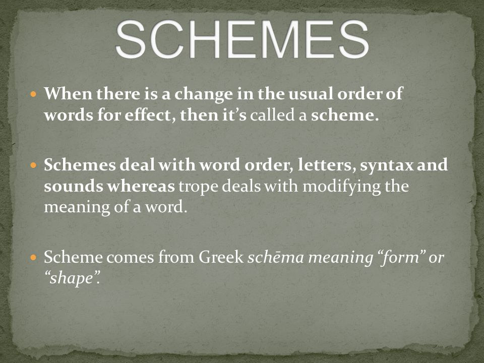 When there is a change in the usual order of words for effect, then it's called a scheme. Schemes deal with word order, letters, syntax and sounds whe