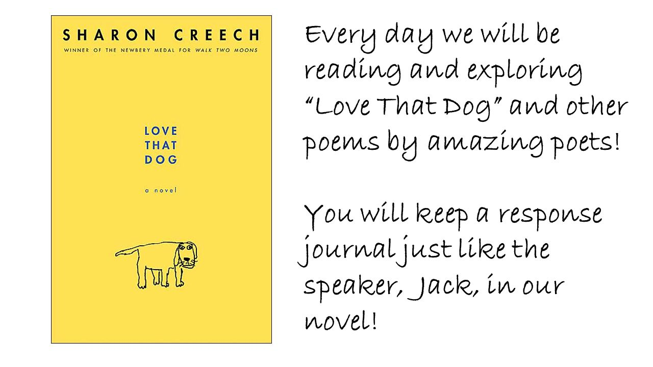 """Every day we will be reading and exploring """"Love That Dog"""" and other poems by amazing poets! You will keep a response journal just like the speaker, J"""