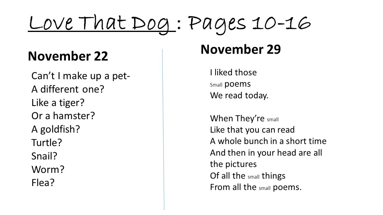 Love That Dog : Pages 10-16 November 29 Can't I make up a pet- A different one? Like a tiger? Or a hamster? A goldfish? Turtle? Snail? Worm? Flea? Nov