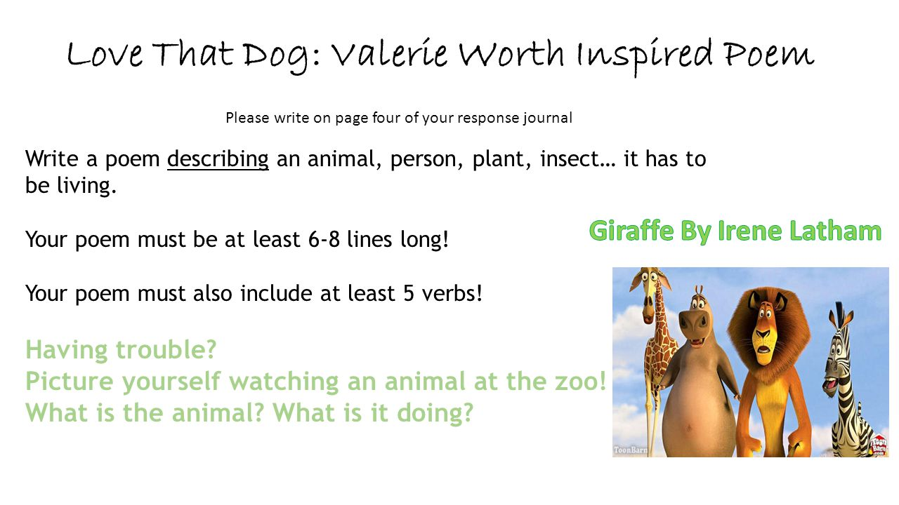 Love That Dog: Valerie Worth Inspired Poem Please write on page four of your response journal Write a poem describing an animal, person, plant, insect