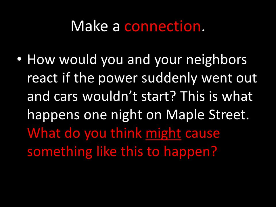 Make a connection.