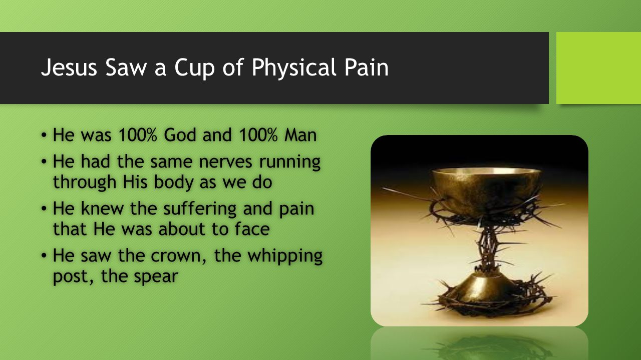 Jesus Saw a Cup of Physical Pain He was 100% God and 100% Man He was 100% God and 100% Man He had the same nerves running through His body as we do He had the same nerves running through His body as we do He knew the suffering and pain that He was about to face He knew the suffering and pain that He was about to face He saw the crown, the whipping post, the spear He saw the crown, the whipping post, the spear
