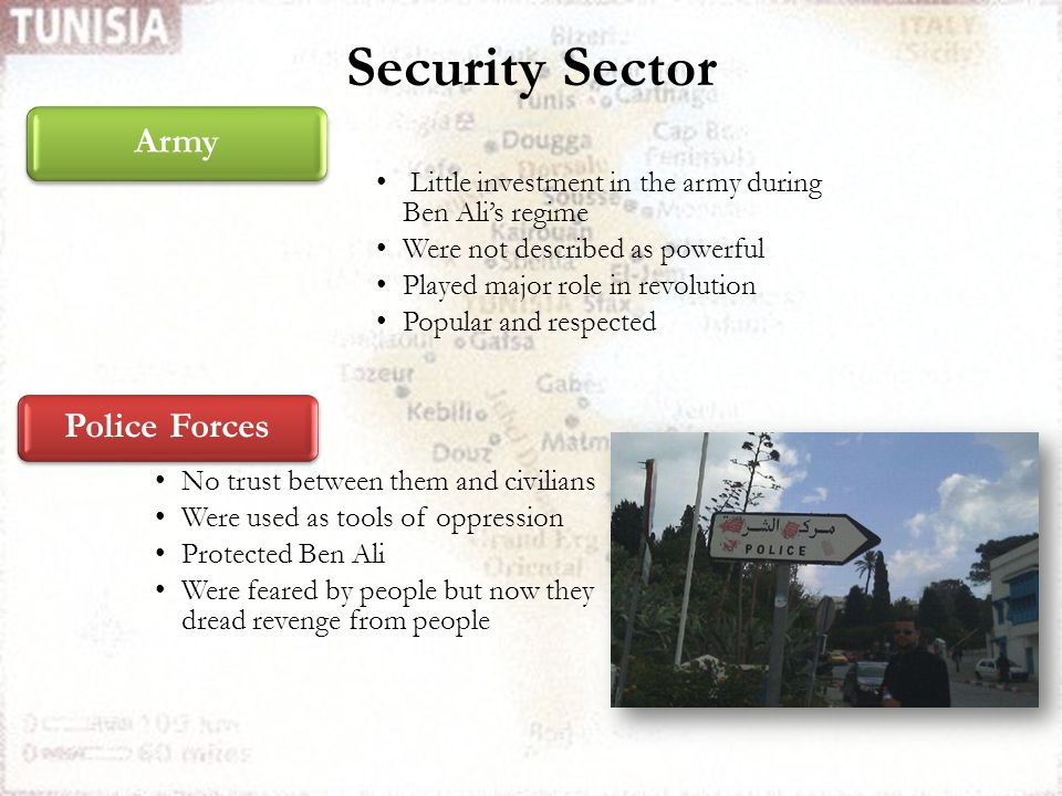 Security Sector Police Forces Little investment in the army during Ben Ali's regime Were not described as powerful Played major role in revolution Pop