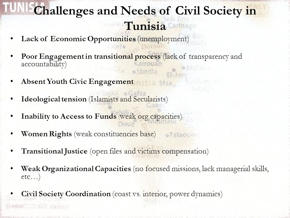 Lack of Economic Opportunities (unemployment) Poor Engagement in transitional process (lack of transparency and accountability) Absent Youth Civic Engagement Ideological tension (Islamists and Secularists) Inability to Access to Funds ( weak org capacities) Women Rights (weak constituencies base) Transitional Justice (open files and victims compensation) Weak Organizational Capacities (no focused missions, lack managerial skills, etc…) Civil Society Coordination (coast vs.