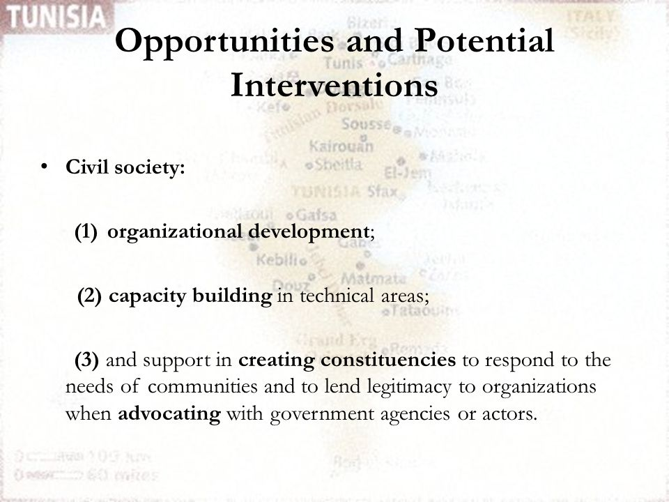 Opportunities and Potential Interventions Civil society: (1)organizational development; (2) capacity building in technical areas; (3) and support in creating constituencies to respond to the needs of communities and to lend legitimacy to organizations when advocating with government agencies or actors.