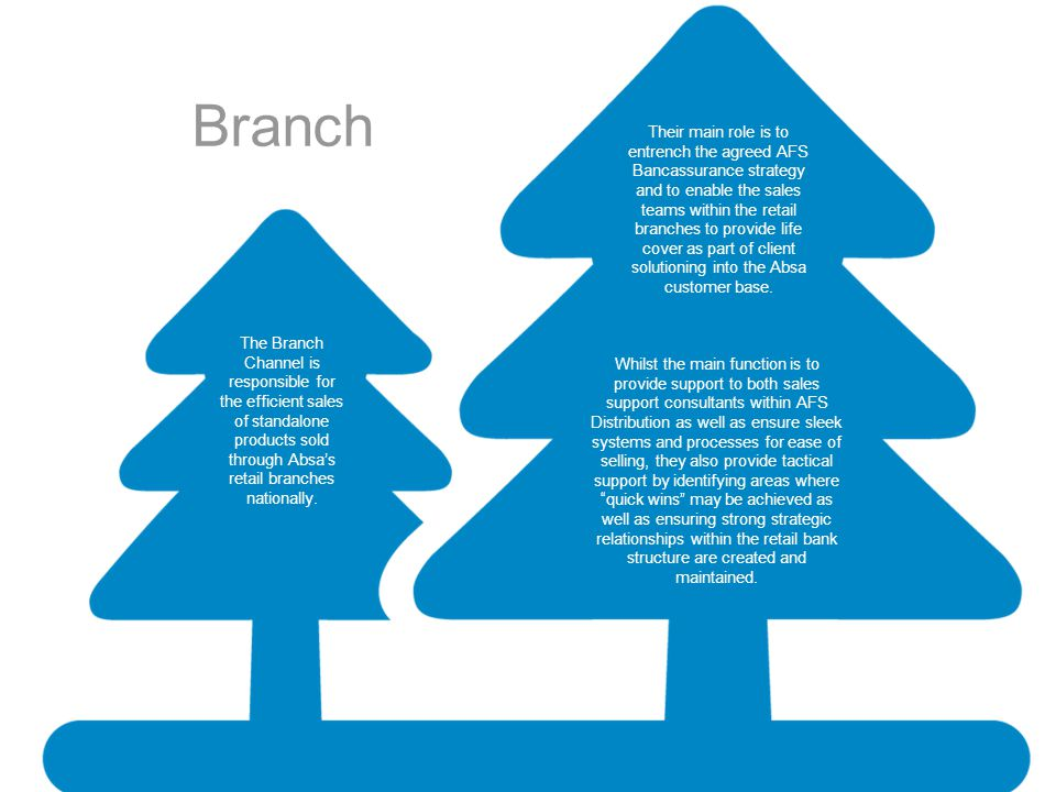 Branch Their main role is to entrench the agreed AFS Bancassurance strategy and to enable the sales teams within the retail branches to provide life c