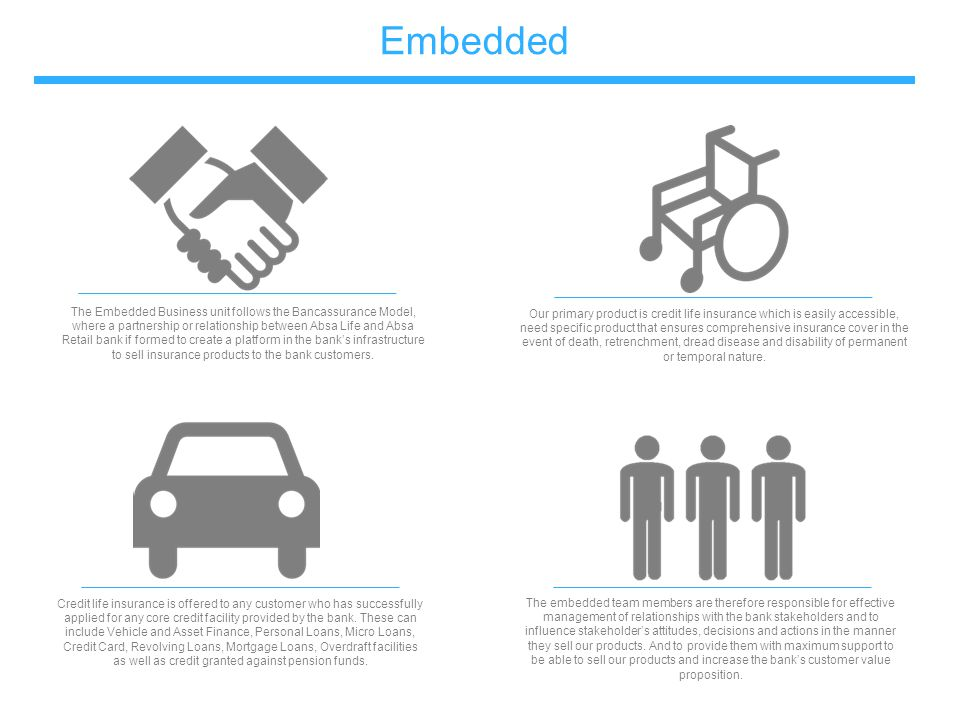 Embedded The Embedded Business unit follows the Bancassurance Model, where a partnership or relationship between Absa Life and Absa Retail bank if for