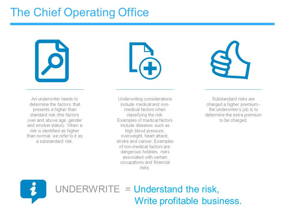 The Chief Operating Office An underwriter needs to determine the factors that presents a higher than standard risk (the factors over and above age, ge