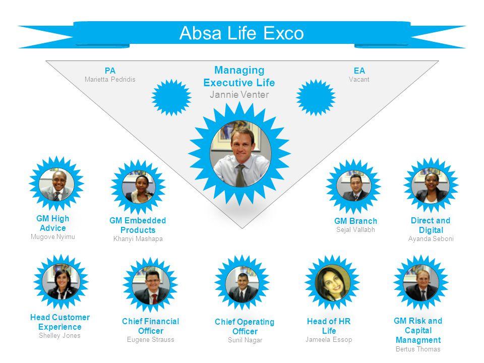 Absa Life Exco Managing Executive Life Jannie Venter PA Marietta Pedridis Direct and Digital Ayanda Seboni Chief Operating Officer Sunil Nagar GM High