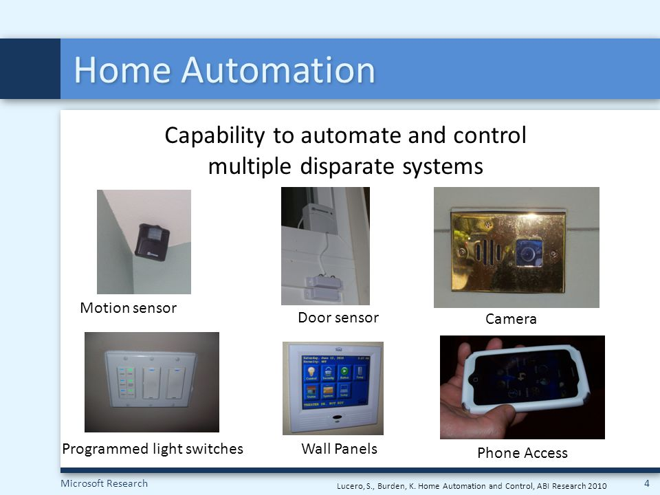 Microsoft Research5 Adopting Home Automation Do-It-Yourself (DIY)Outsourced Our goal: Better understand current state of home automation and learn from people's long term use.