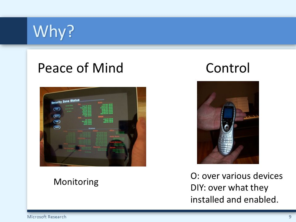 Microsoft Research10 Diversity in Installation & Desires From X10 to control a few lights to embedded panels in every room MediaSecurityEnvironmentControl
