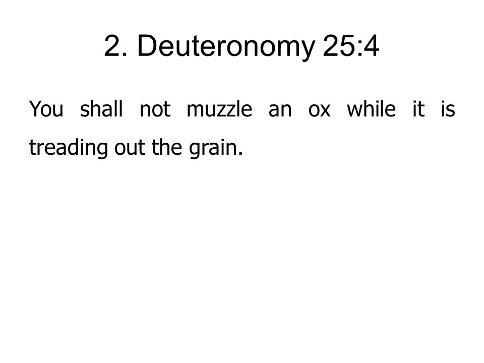2. Deuteronomy 25:4 You shall not muzzle an ox while it is treading out the grain.