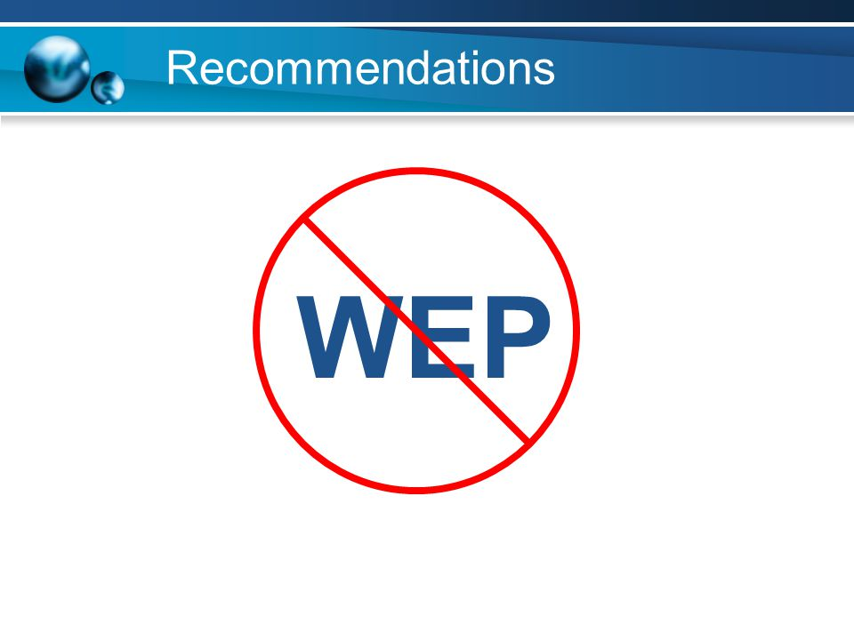 Recommendations WEP
