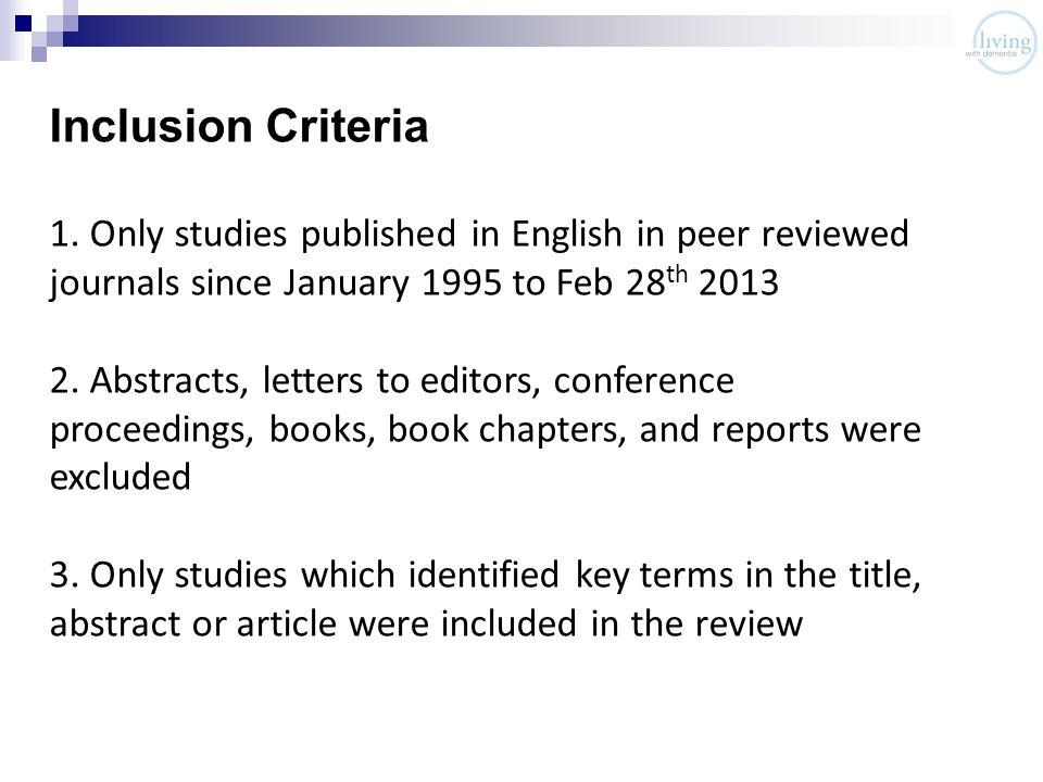Inclusion Criteria 1.
