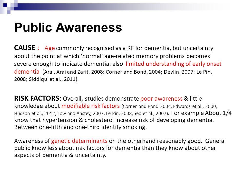 Public Awareness RISK FACTORS: Overall, studies demonstrate poor awareness & little knowledge about modifiable risk factors (Corner and Bond 2004; Edwards et al., 2000; Hudson et al., 2012; Low and Anstey, 2007; Le Pin, 2008; Yeo et al., 2007).