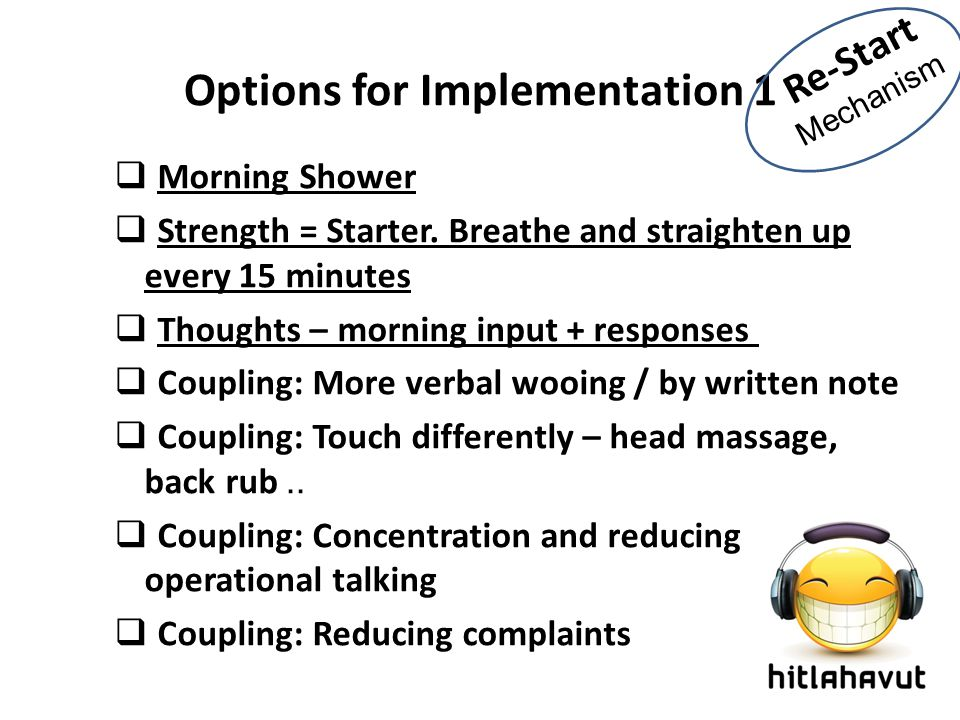 Options for Implementation 1  Morning Shower  Strength = Starter. Breathe and straighten up every 15 minutes  Thoughts – morning input + responses