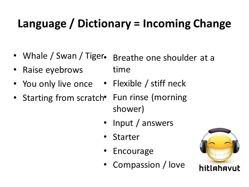 Language / Dictionary = Incoming Change Breathe one shoulder at a time Flexible / stiff neck Fun rinse (morning shower) Input / answers Starter Encourage Compassion / love Whale / Swan / Tiger Raise eyebrows You only live once Starting from scratch