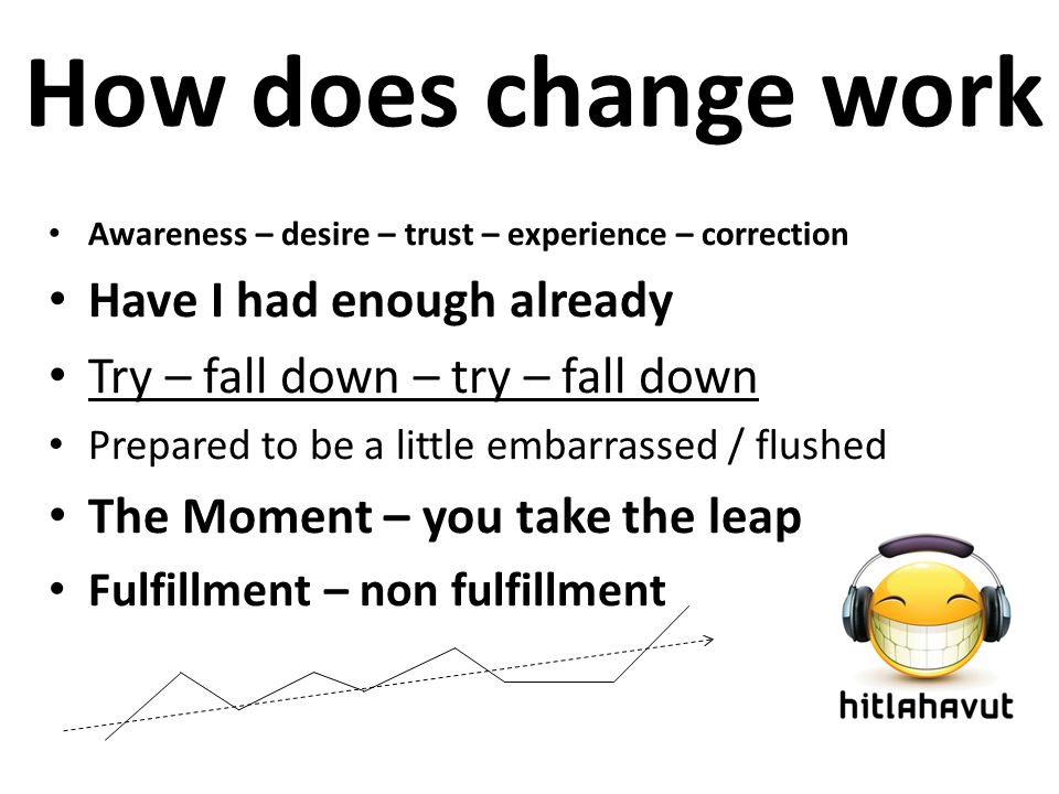 How does change work Awareness – desire – trust – experience – correction Have I had enough already Try – fall down – try – fall down Prepared to be a little embarrassed / flushed The Moment – you take the leap Fulfillment – non fulfillment
